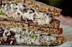 TARRAGON CHICKEN WITH PECANS AND CRANBERRIES SANDWICH.  I love the tarragon chicken salad from Publix.  I bet this would be good.