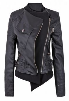 Black Zipper Embellished Faux Leather Biker Jacket pictures