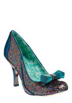 Irregular Choice blue glitter African Queen shoes