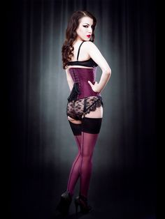 Plum Contrast Seam Stockings - Kiss Me Deadly