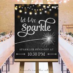 Sparkler send off wedding sparklers sign large wedding signs let love sparkle rustic wedding ideas printable signs customized DIGITAL by HandsInTheAttic