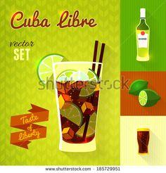 """""""Cuba Libre"""" Cocktail Set. Vector illustration, eps10."""