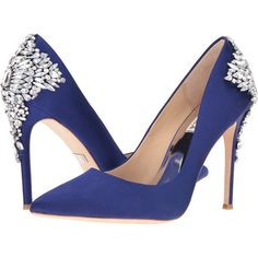 Badgley Mischka Gorgeous (Indigo Satin) High Heels ($265) ❤ liked on Polyvore featuring shoes, pumps, pointed toe high heel pumps, pointed toe shoes, pointed toe stilettos, high heel pumps and slip on shoes