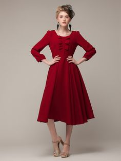 Buy Red Long Sleeve Chiffon Midi Dress With Bowknot from abaday.com, FREE shipping Worldwide - Fashion Clothing, Latest Street Fashion At Abaday.com