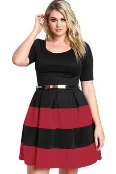 Stripes Detail Belted Plus Size Skater Dress