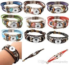 Best Quality Wholesale 2015 Newest Design Snap Jewelry Wholesale Buttons Snap Noosa Chunks Leather Bracelets For Women At Cheap Price, Online Charm Bracelets | Dhgate.Com