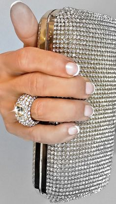 Rhinestone Crystalized Silver Evening Clutch Bag One Ring Center USA Seller | eBay