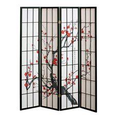 Amazon.com: 4 panel Cherry Blossom Design Room Divider, 4-PANEL, BLACK: Home & Kitchen