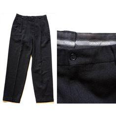 Vintage 1990s Black Giorgio Armani Slacks / Mens Vintage Armani Le Collezioni Front Pleat Pants / 1980s Black Wool Cuffed Trousers SZ: 38X33