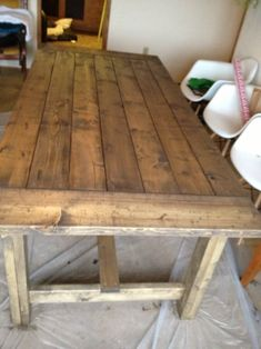 Hand Built, Farmhouse Table with Cross Supports – Farmhouse table diy Outdoor Farmhouse Table, Farmhouse Table Plans, Rustic Table, Country Farmhouse, Homemade Kitchen Tables, Farmhouse Kitchen Tables, Diy Dining Room Table, Build A Table, Stained Table