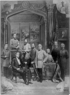 Confederate Generals. Left to right - Hood, Semmes, Davis, Stuart, Jackson, Lee, Forrest, Johnston, Beauregard.