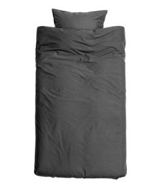 Charcoal gray. Duvet cover set in cotton fabric washed for an extra-soft, silky finish. One pillowcase. Thread count 144.