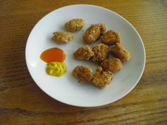Chicken Nuggets--healthy option: dip in flour mixture, egg, then breadcrumb mixture and bake at 400 for 12-15 minutes, flipping halfway through.