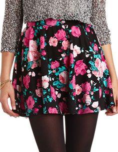 Floral Print Skater Skirt: Charlotte Russe