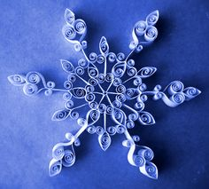gr 5Students looked at examples of quilled paper and I demonstrated how to create different shapes and curls. Students then created their own quilled snowflakes or upper-case letters (their choice). They used rotational symmetry when creating their snowflake.