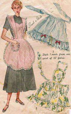 Vintage 1948 Simplicity 2644 Sewing Pattern Misses Aprons