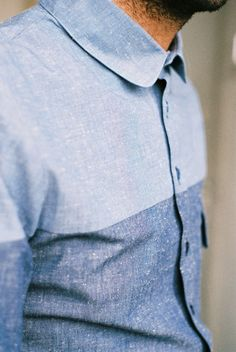 Hunting Ensemble - Oxford Look-a-like shirt a split blue