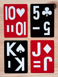 """Playing cards for the visually impaired. Large (1.25""""), easy to read numbers with codes so those with vision impairments can tell what the cards are. A horizontal single line is the spade, a vertical single line is the club, two horizontal lines is the diamond, and two vertical lines are the heart. High contrast white letters on dark red backgrounds for hearts and diamonds and black backgrounds for clubs and spades Please allow 3-7 days for delivery."""