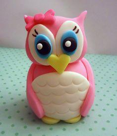 Fondant Cake Topper - Pink Owl - 3D. $29.95, via Etsy. Cakes and Kids