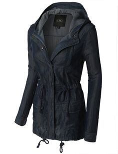 LE3NO Womens Long Sleeve Anorak Denim Jacket with Hoodie (CLEARANCE)