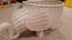 Pottery Barn Kids PBK ELEPHANT White Rattan Wicker Basket LARGE... EUC BUY NOW! #PotteryBarnKids