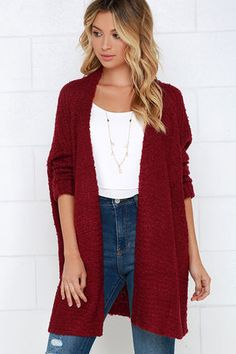 The perfect morning starts with curling up in the Cup of Cozy Wine Red Cardigan Sweater! This collarless cardigan sweater is composed of ultra-soft knit that instantly evokes warm, fuzzy feelings. Long, fitted sleeves finished in sewn cuffs and a draping open front make this cardi perfect for layering over any outfit.