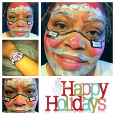 Santa face painting design, holiday face paint.