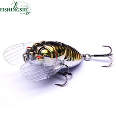 Winter Ice Fishing Lures Floating Insect Fly Tying Fishing Lure Cicada Baits 40mm 55mm Artificial Hard Bait Pesca Tackle Hooks