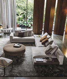 Minotti Living Room Modern, Living Room Sofa, Interior Design Living Room, Living Room Designs, Lounge Design, Sofa Design, L Shaped Living Room Layout, Sala Grande, Modern Interior Design