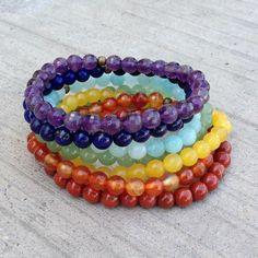 Bracelets - Chakras, Genuine Amethyst, Lapis, Amazonite, Aventurine, Yellow Jade, Carnelian, And Red Jasper Mala Stack