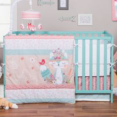 Features: -Soft 100% cotton crib sheet fit standard crib mattress. -Set includes quilt, crib skirt and fitted crib sheet. -Wild forever collection. Color: -Pink/orange, teal, blue/white and peach.