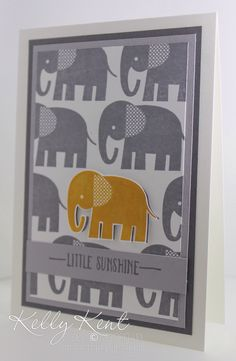 Stampin Up Zoo Babies baby card by Kelly Kent. Great use of repeated pattern.