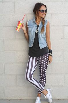 Denim Vest with American Flag Leggings Vest Outfits, Edgy Outfits, Cute Outfits, Fashion Outfits, Fashion 2014, Fashion Ideas, Womens Fashion, American Flag Leggings, American Apparel
