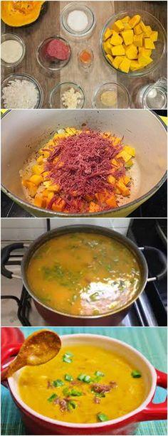 No frio nada melhor que um maravilhoso e nutritivo CALDO DE ABÓBORA COM CARNE SECA...VEJA AQUI>>>>Coloque a carne seca dessalgada numa panela de pressão e cozinhe até ficar extremanente macia #receita#pizzadecalabresa#paodecalabresa#massas#torta#lanches#salgados#hamburgueres#lasanha#macarrao#pao#polenta