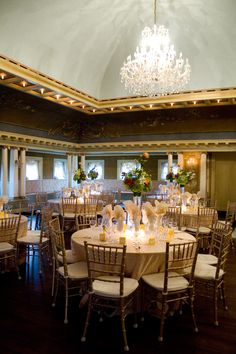 These circular tables have beautiful settings