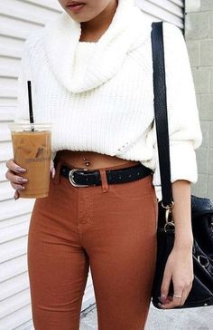 White Knit + Coffee Jeans Source