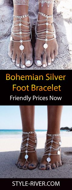 Barefoot sandals with Gypsy silver flowers Boho wrapped ankle Jewelry for the feet Bohemian style anklet