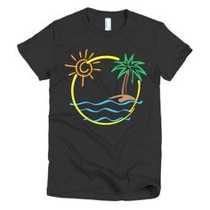 Now available in our store. Check it out here http://j-s-graphics.myshopify.com/products/beach-palm-tree-deserted-island-short-sleeve-womens-t-shirt?utm_campaign=social_autopilot&utm_source=pin&utm_medium=pin