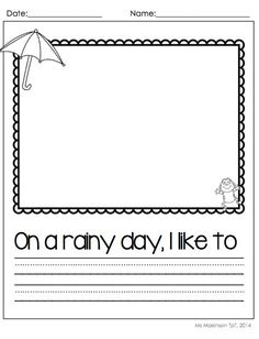 April Printable Packet - Kindergarten Literacy and Math. Rainy Day Writing Prompt! [Ms. Makinson]