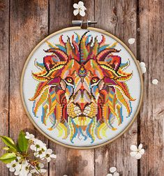 Mandala Lion Cross Stitch Pattern for Instant Download  222