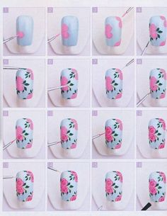 Adorable Free-Hand Nail Art Victorian Style Roses - How To / Step by Step Tutorial