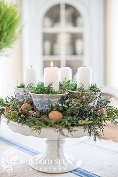 Beautiful advent wreath/centerpiece made of blue/white and natural materials from Miss Mustard Seed