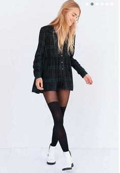 Babydoll Plaid Button-Up Urban Outfitters.