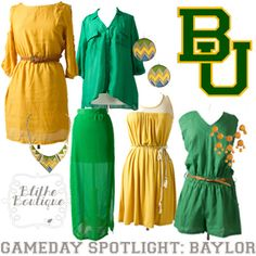 Baylor Bear green and gold fashion for football season!
