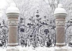 Do you Have Christmas Snow Yet? If Not Enjoy these Snow Photos : winter Snow Scenes, Winter Scenes, Tor Design, Gazebos, Wrought Iron Gates, Winter Magic, Winter Snow, Fence Gate, Fences