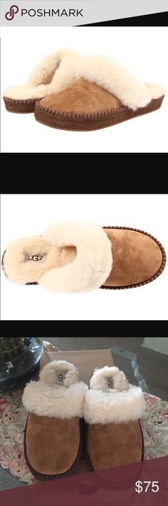NEW UGG AIRA CHestnut. Slip into cozy luxury with unique foxing stitch detail, These breathable slippers are lined with warm sheepskin. Water-resistant high quality suede upper UGG Shoes Slippers