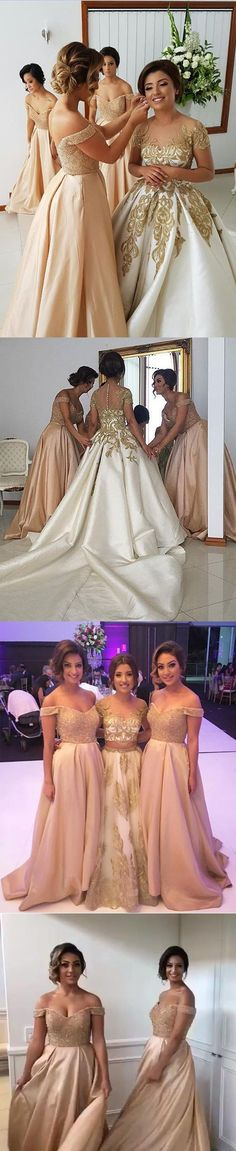 2017 Off the Shoulder Sweetheart Long Wedding Bridesmaid Dresses, WG380