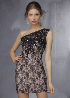2015 Beaded Black/Nude One-Shoulder Mori Lee 9271 Short Lace Homecoming Dresses Homecoming Dresses 2014, Long Prom Dresses Uk, Mori Lee Prom Dresses, Sparkly Prom Dresses, Girls Formal Dresses, Prom Long, Grad Dresses, Mini Dresses, Formal Gowns