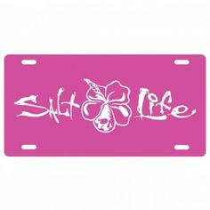 Salt Life Signature Hibiscus License Plate (Pink;One Size)