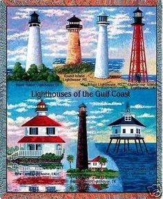 """Gulf Coast Lighthouses Throw""   This colorful cotton throw, woven on J"